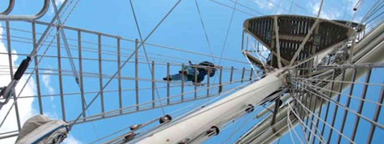 Jubilee Sailing Trust - climbing the rigging (Simon Chubb)