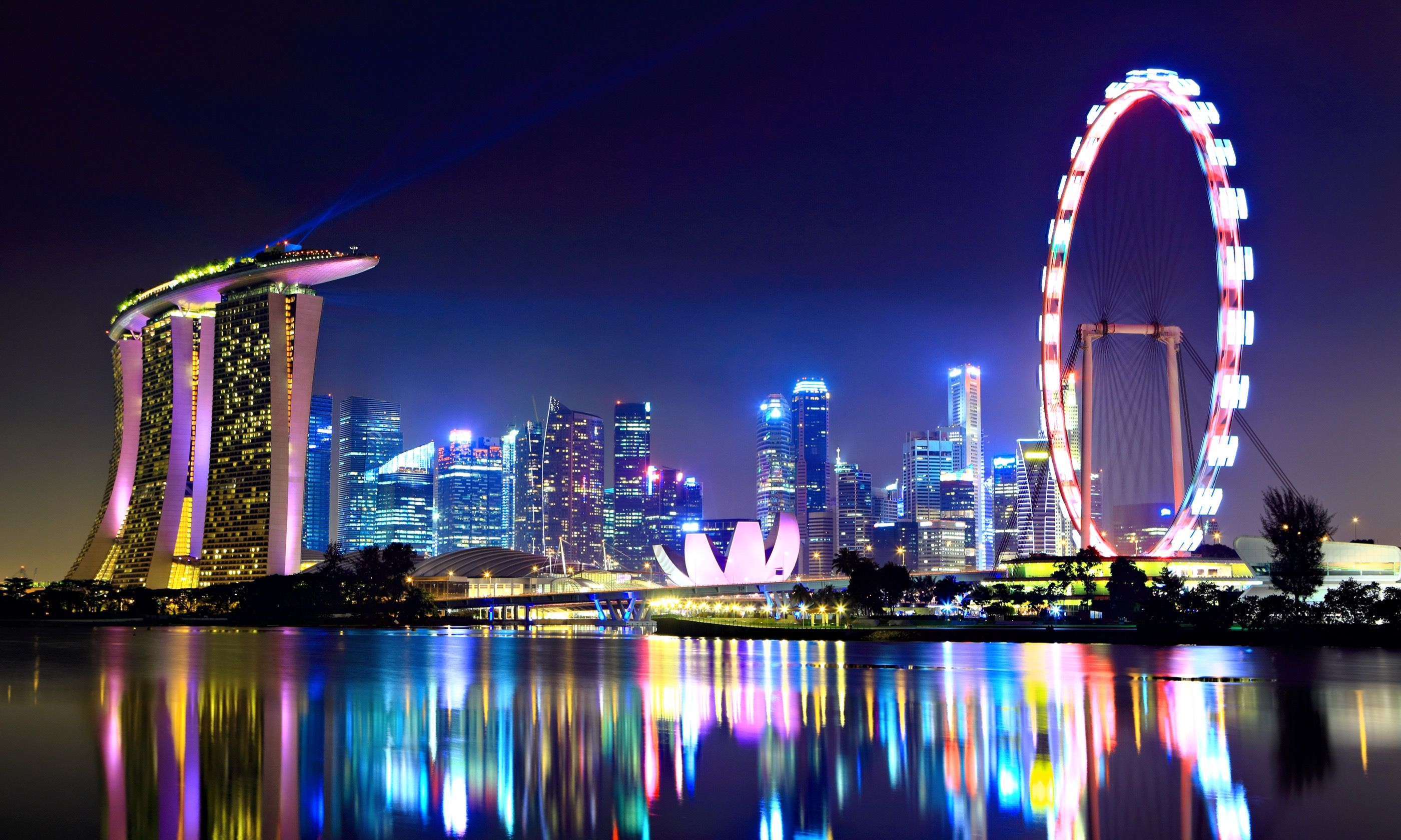 Singapore skyline at night (Shutterstock.com)