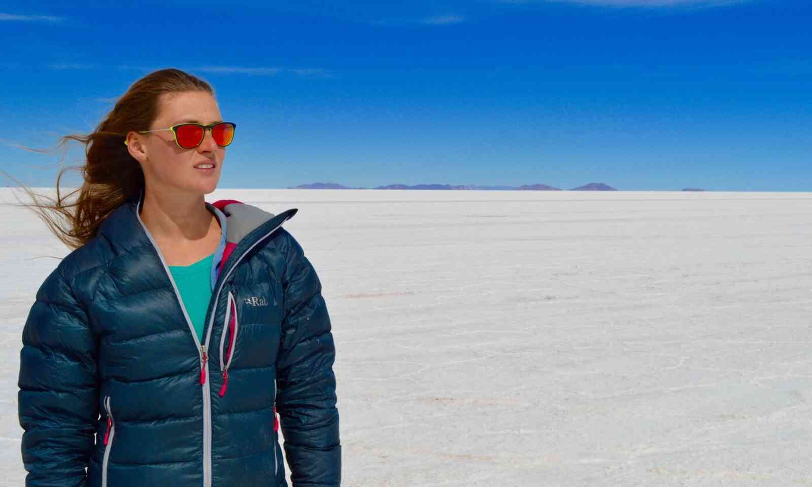 Down jacket. Bolivian Salt Flats (Laura Bingham)