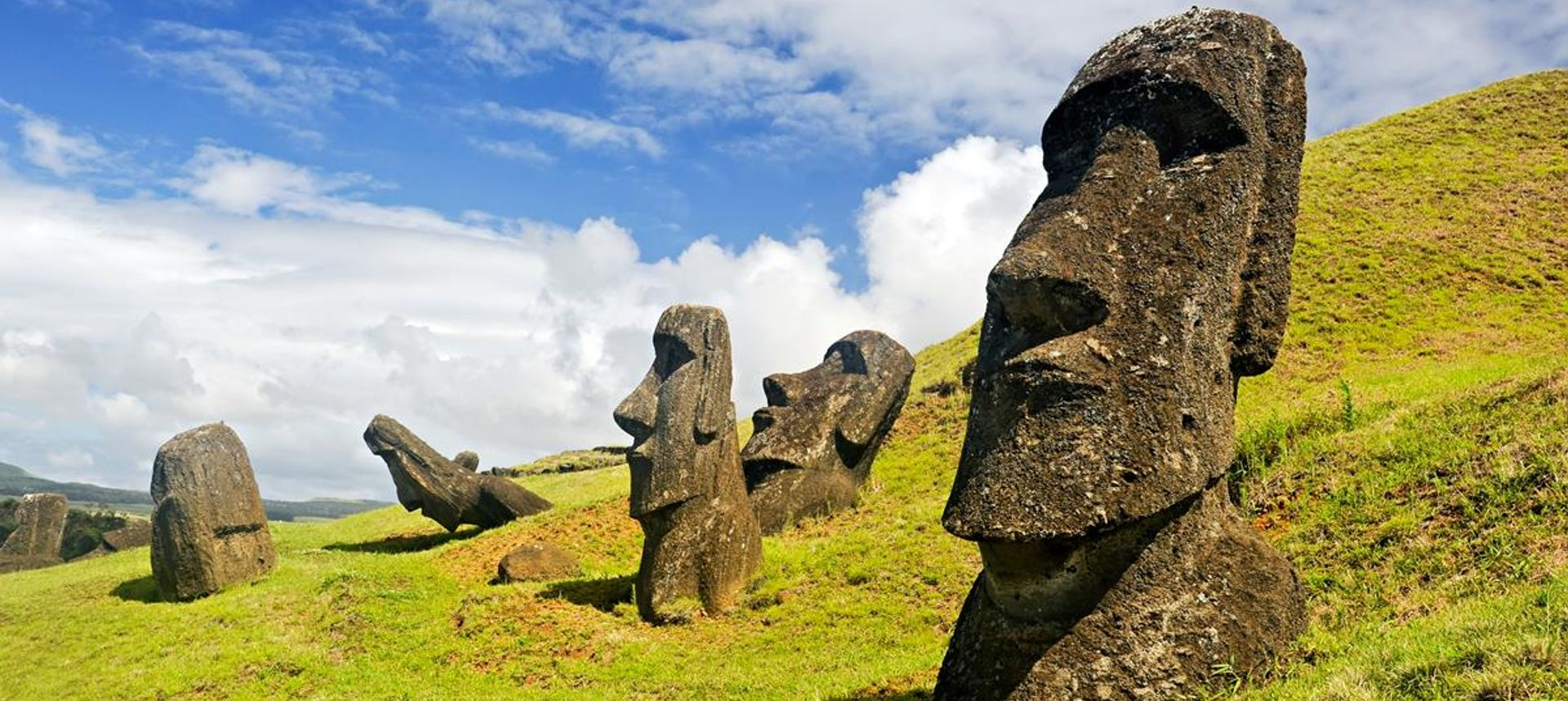Ranks of giant moai (carved stone heads) on Easter Island, Chile (visitchile.org)