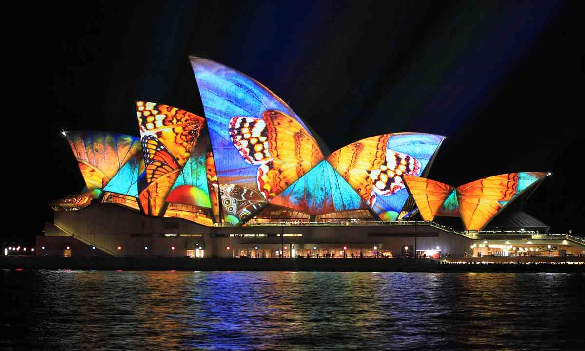 The Sydney Opera House illuminated during the annual Vivid Festival (Dreamstime)