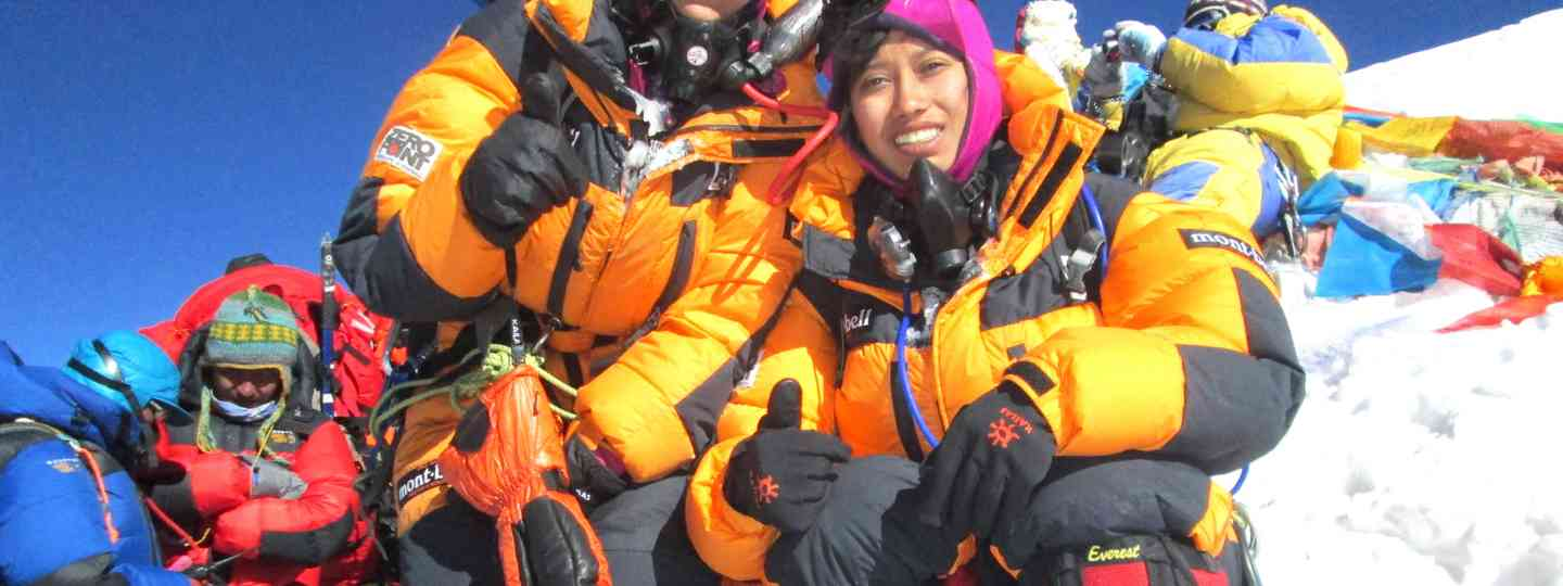 Tashi and Nungshi Malik at the top of Mount Everest (Nungshi Tashi Foundation)