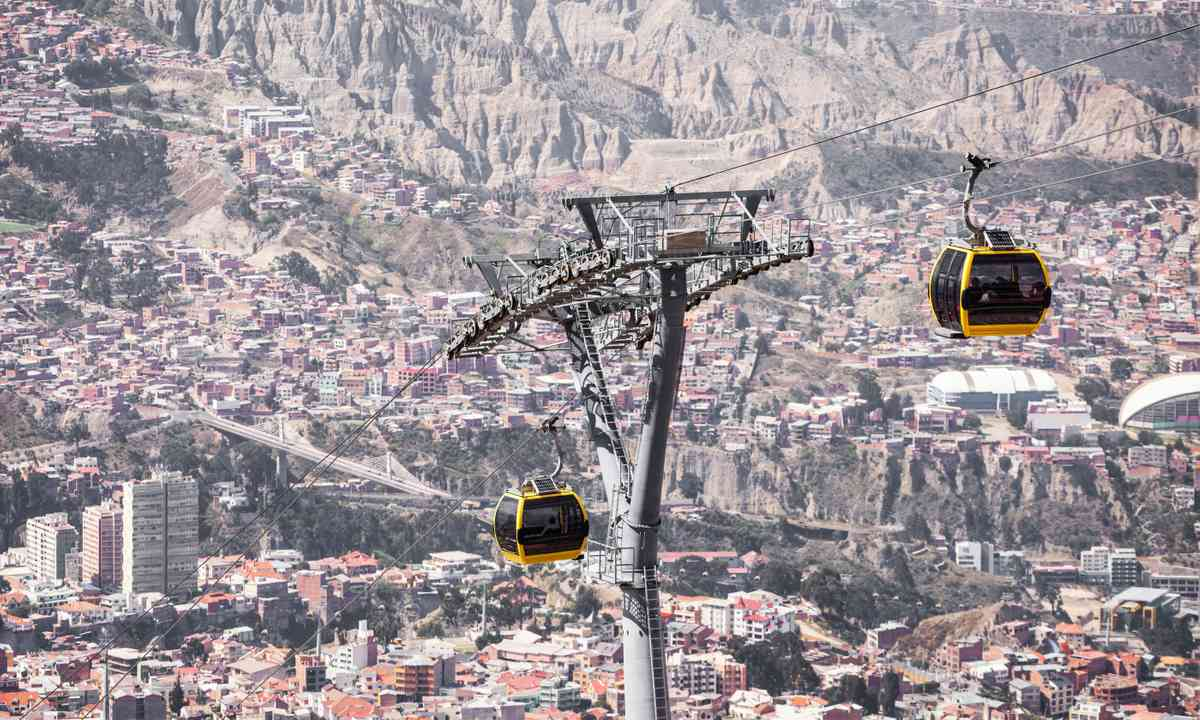 Cable cars high over La Paz (Dreamstime)