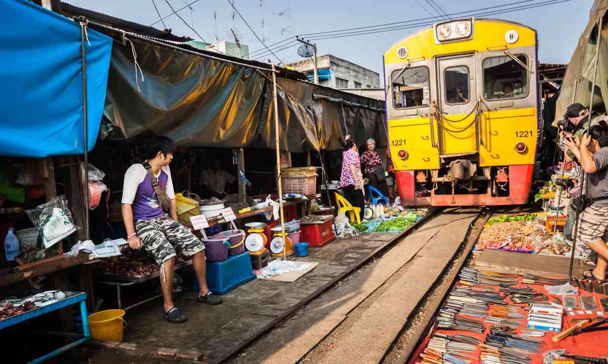 Train through market, Thailand (Shutterstock.com)