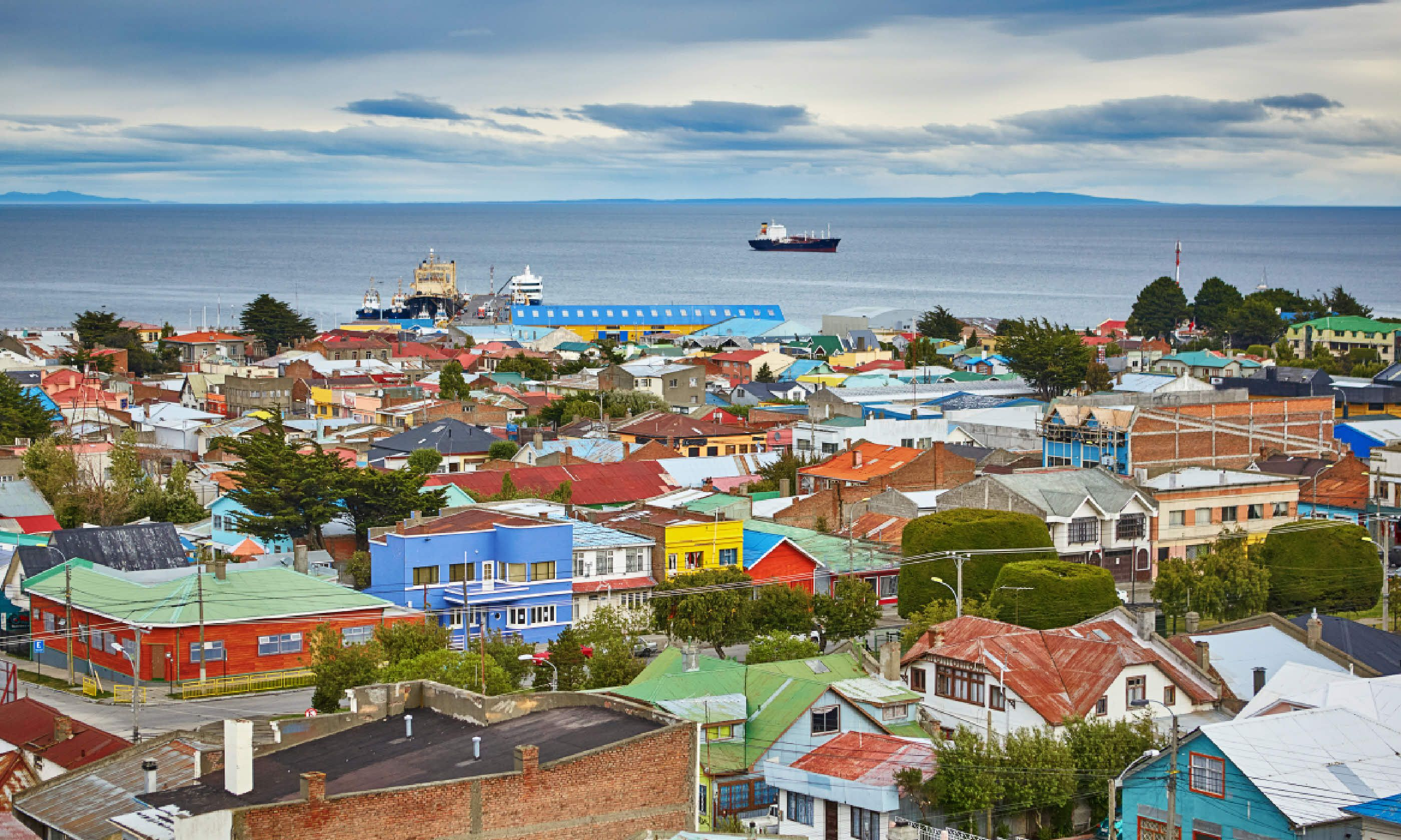 Scenic view of Punta Arenas with Magellan Strait in Patagonia (Shutterstock)