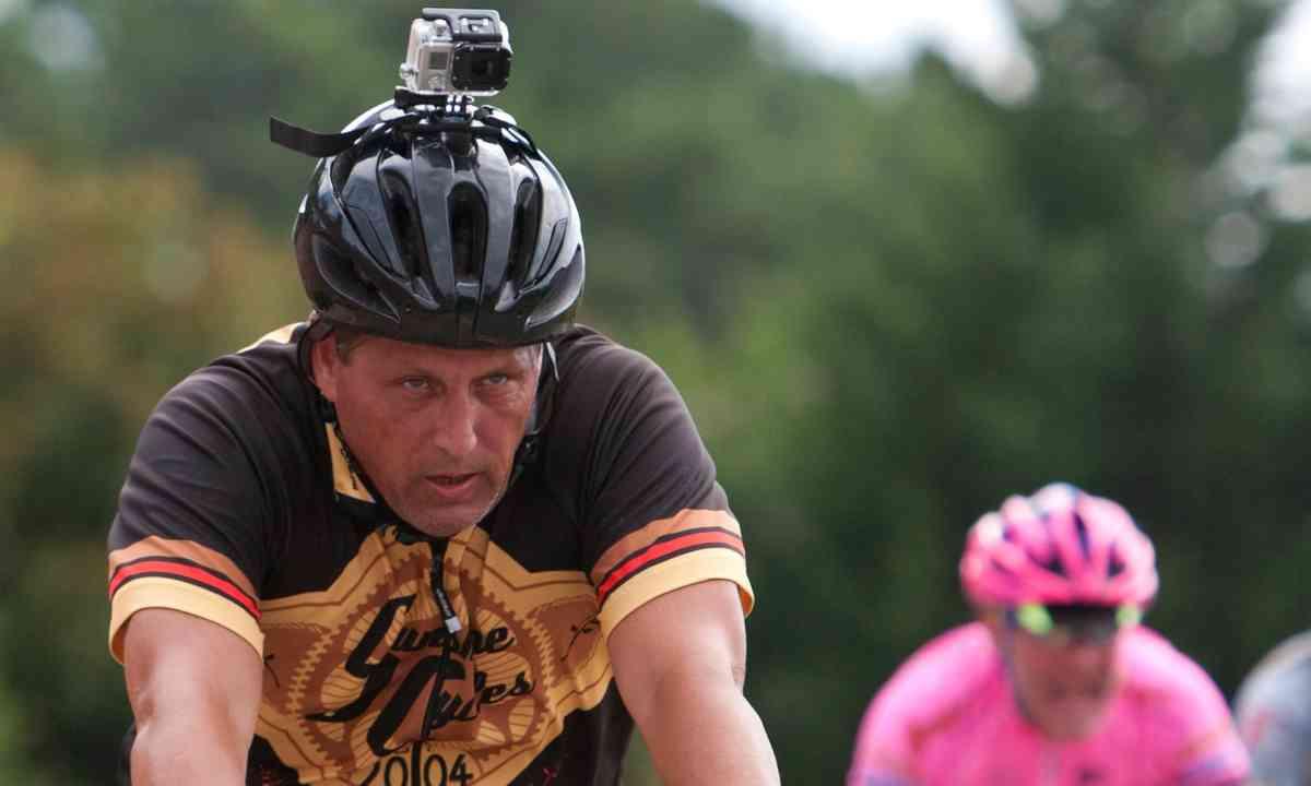 Cyclist wearing Go Pro (Shutterstock.com)