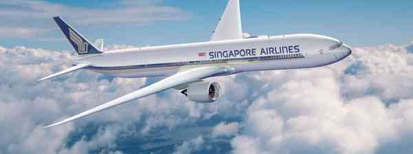 Singapore Airlines' aeroplane in flight