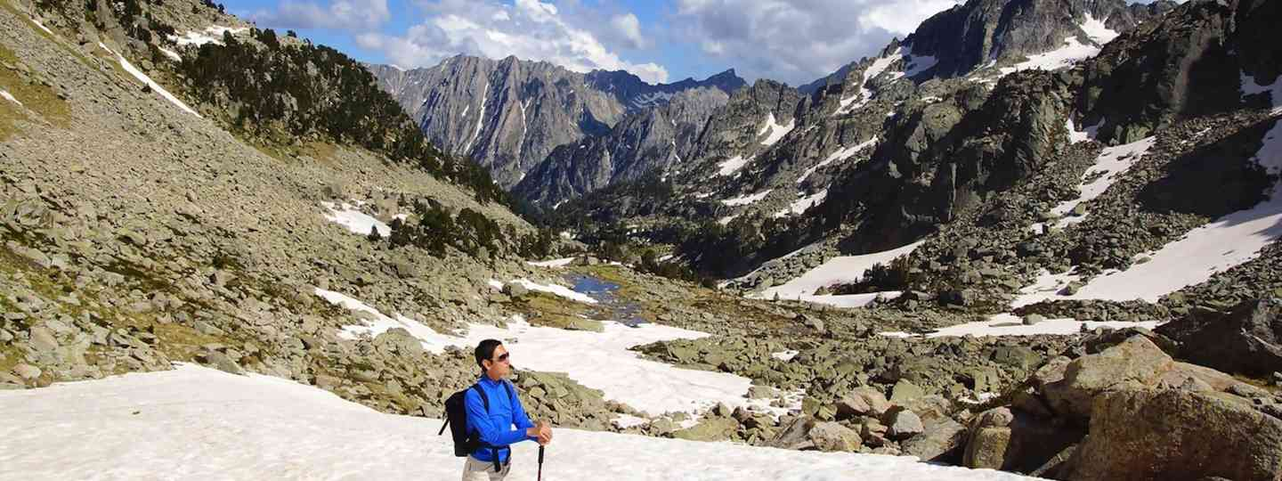 Hiker in Aiguestortes and Estany de Sant Maurici National Park (Dreamstime)