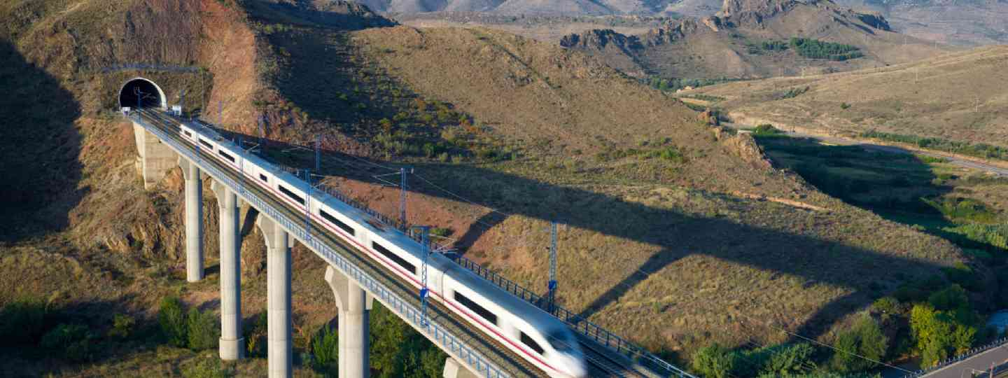 High-speed train crossing a viaduct in Aragon, Spain (Shutterstock)