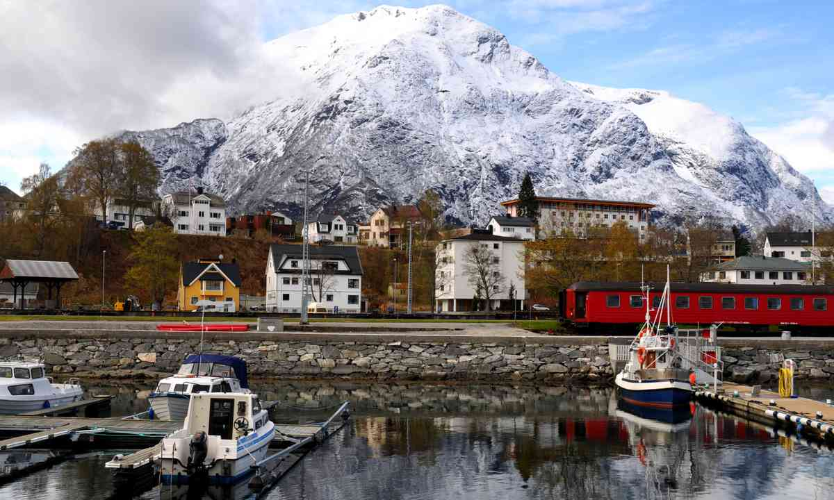 Train arriving in small fishing village in Norway (Dreamstime)