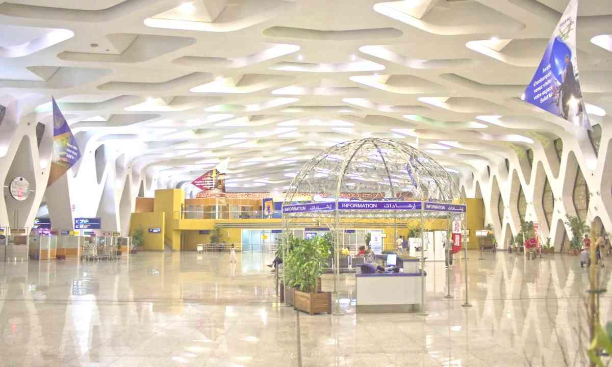 Geometric patterned walls at Menara airport (Dreamstime)