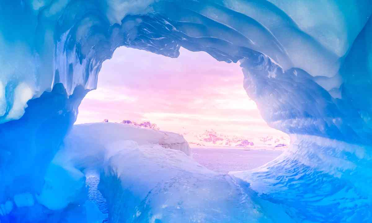 Ice cave at sunset (Shutterstock.com)
