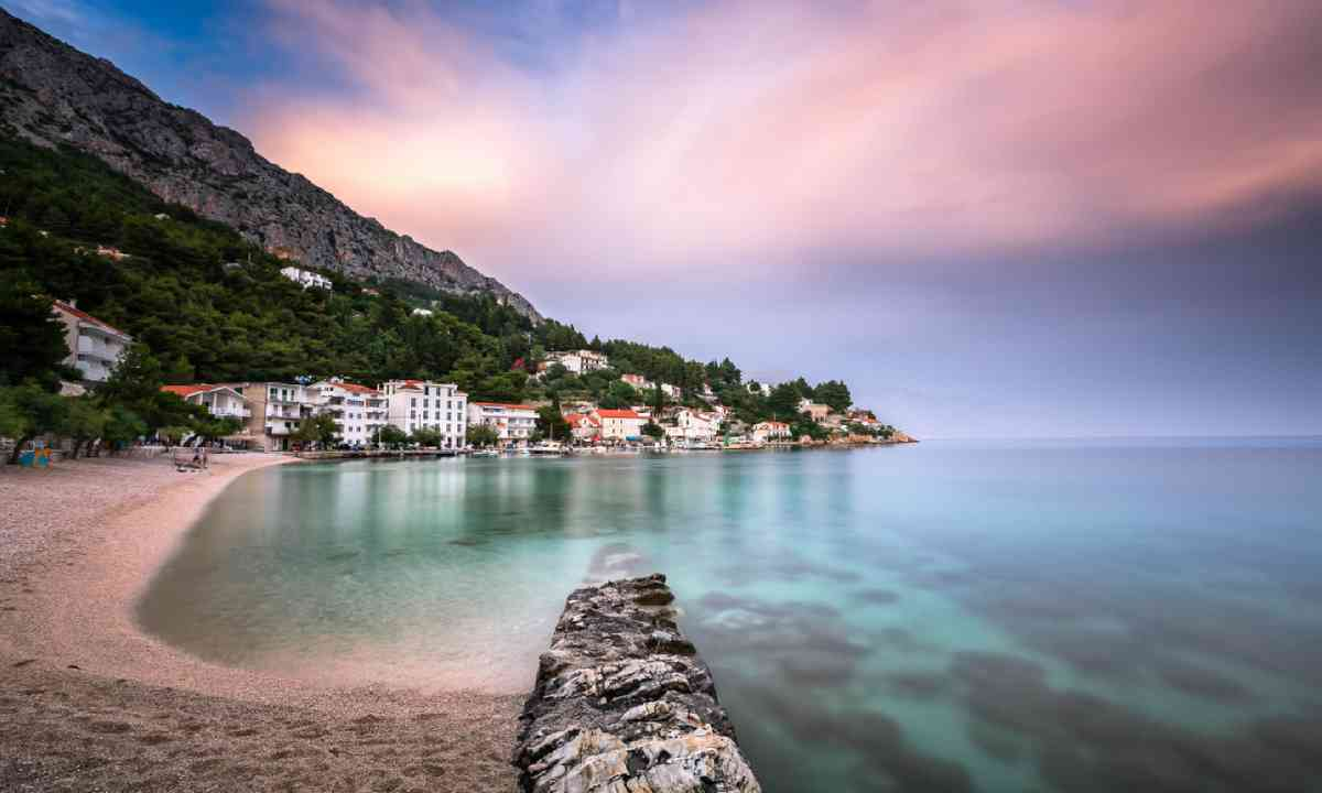 Adriatic Beach and Mimice Village in Dalmatia, Croatia (Shutterstock)