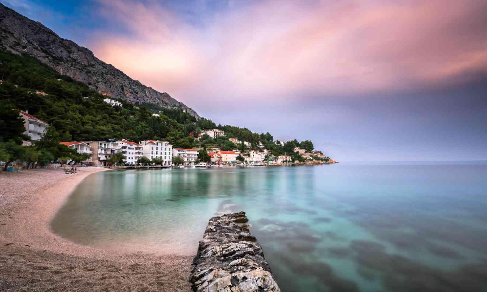 Adriatic Beach and Mimice Village in Dalmatia, Croatia (Shutterstock)