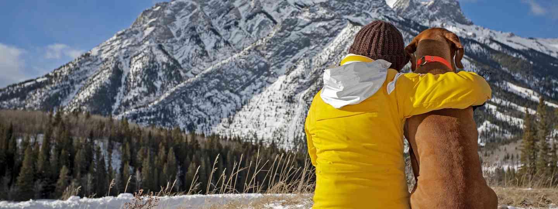 Woman and her dog enjoying mountain view (Shutterstock.com. See main credit below)
