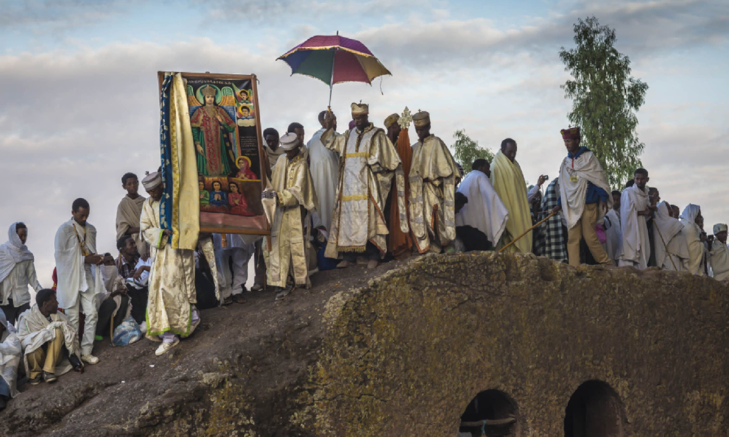 Priests at dawn in Lalibela, Ethiopia (Christopher Roche)