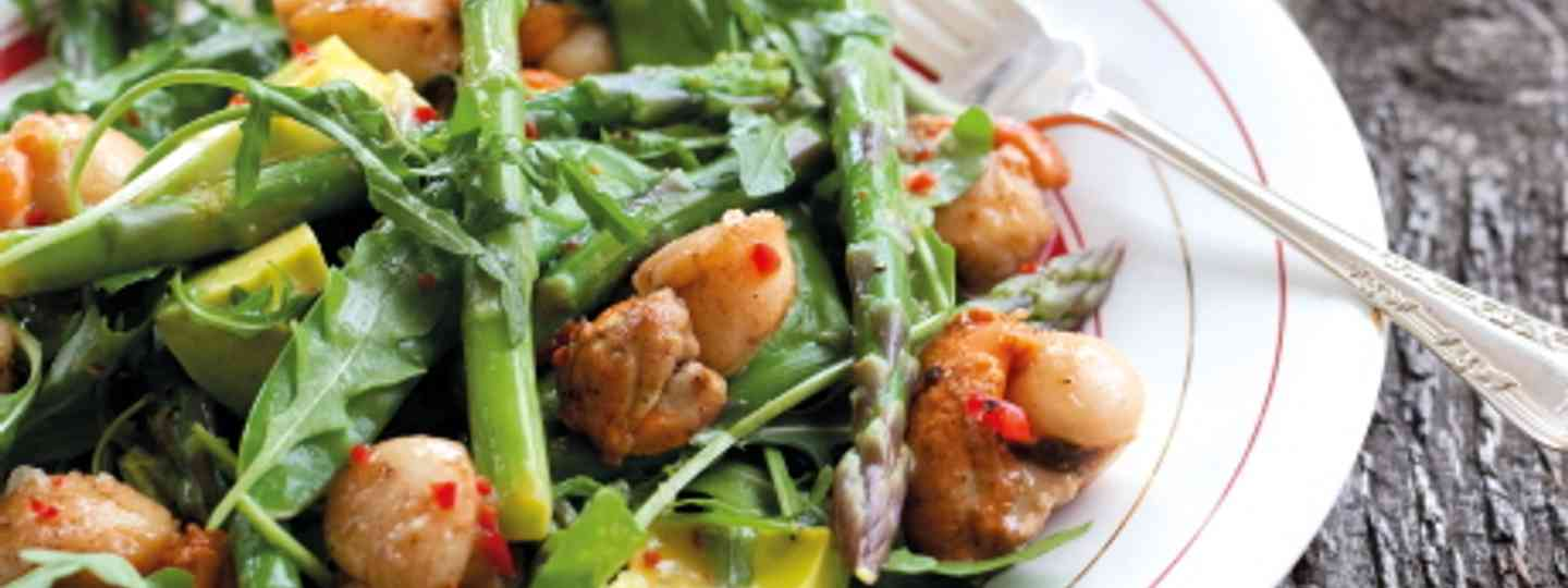 Asparagus, Snow Pea and Scallops Salad (Annabel Langbien)