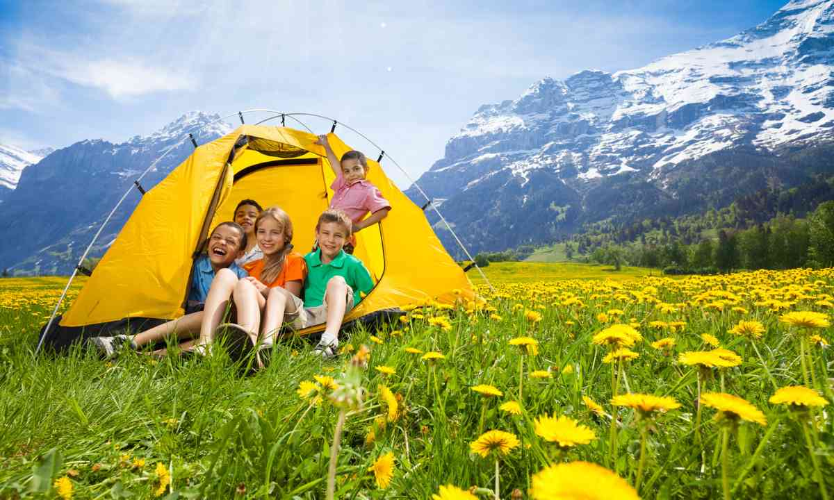Children camping in a Swiss meadow (Dreamstime)