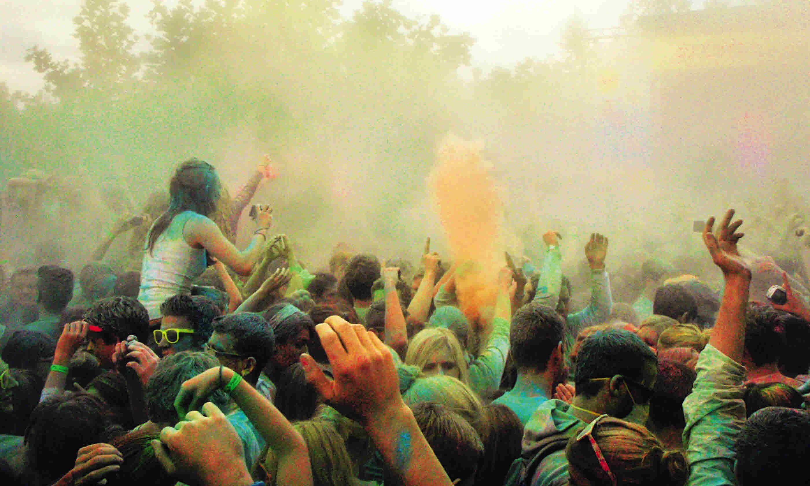 Crowd celebrating Holi Festival