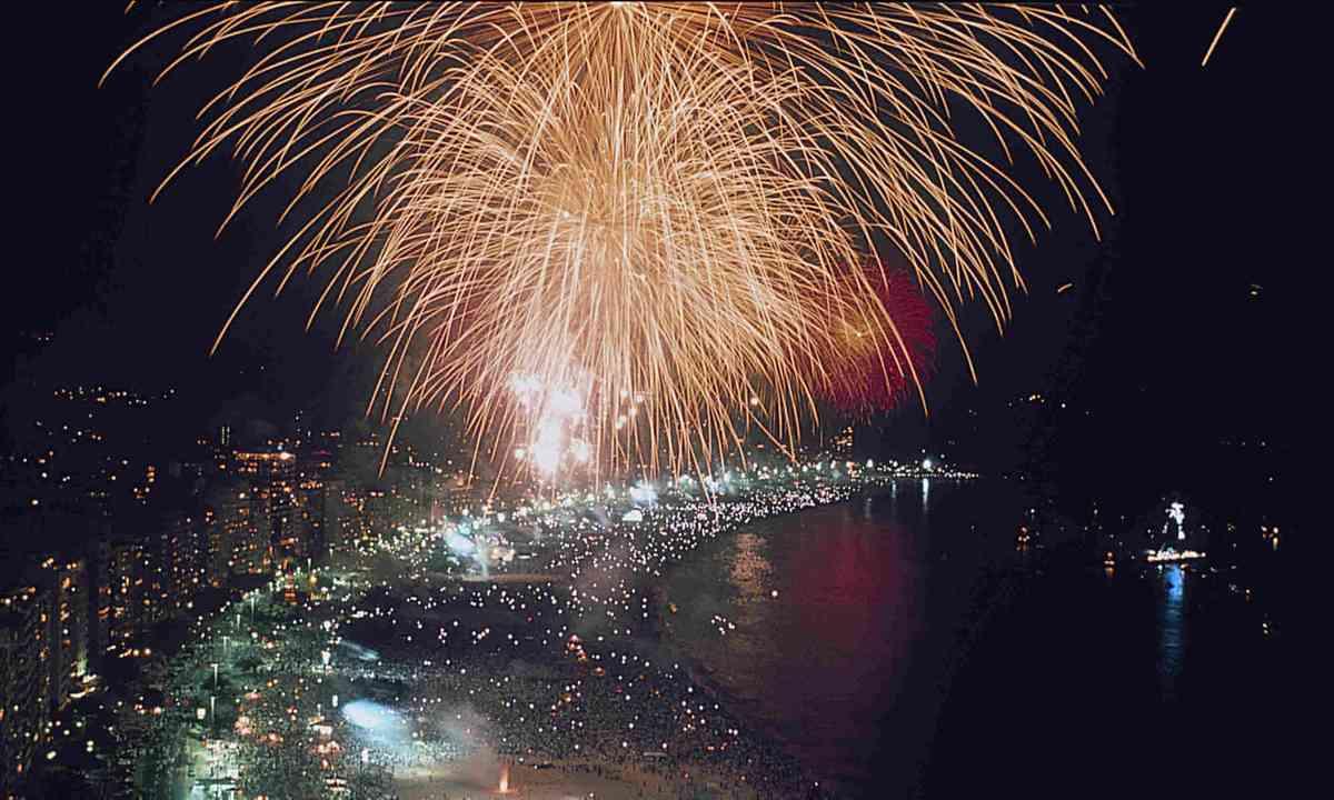 Fireworks at Copacabana Beach