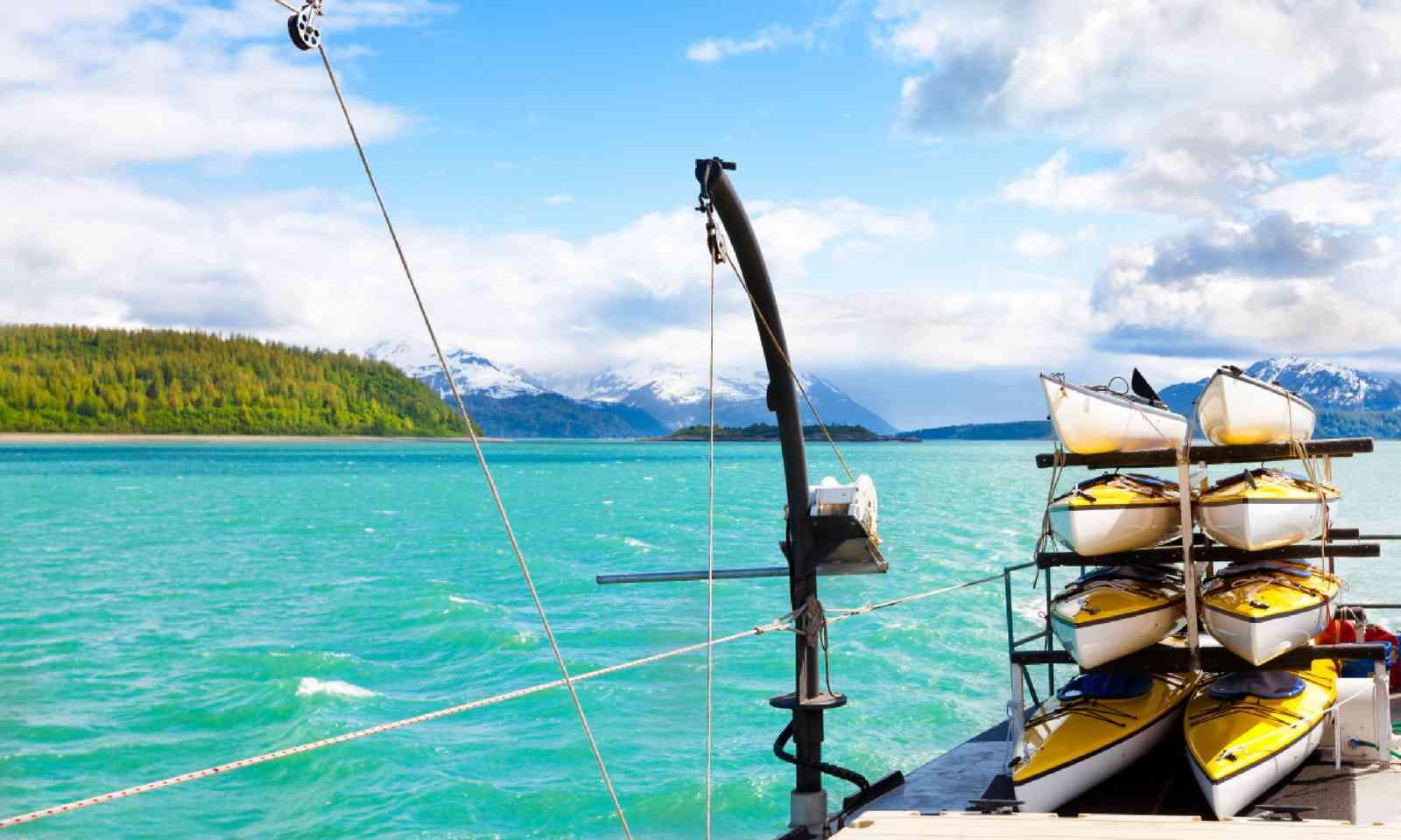 Stacked kayaks in Alaska (Shutterstock)