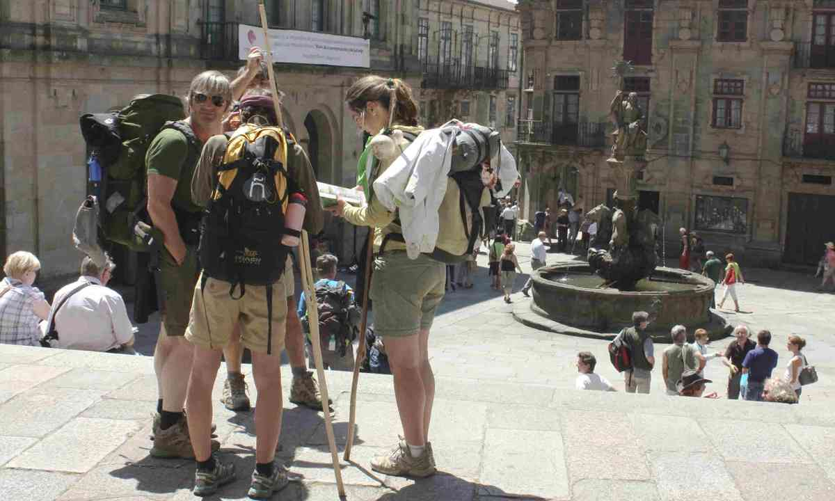 Pilgrims on end the Camino de Santiago (Dreamstime)