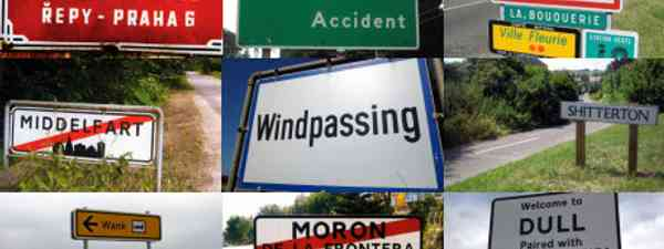 Funny town names collage