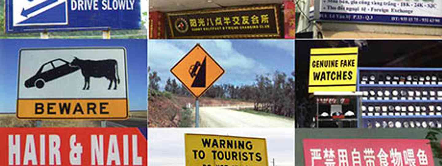 Collage of funny signs