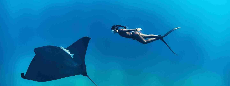 Freediver Hanli Prinsloo in the Maldives