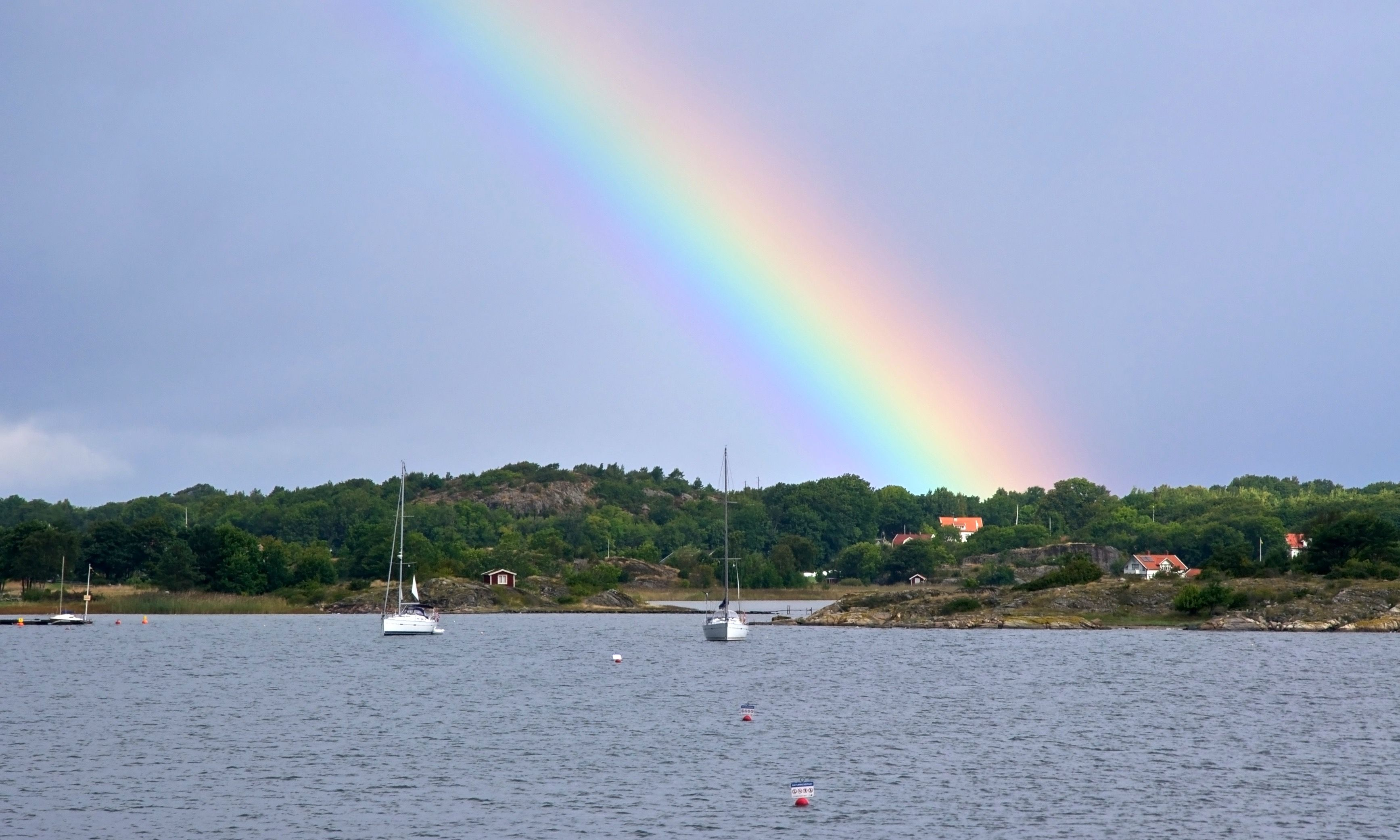 A rainbow arching over Kosterhavet Marine National Park (Dreamstime)