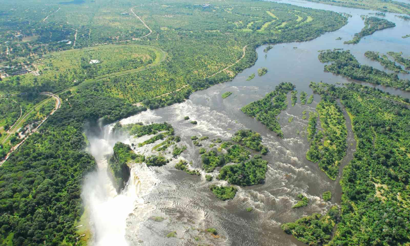 Aerial view of Zambezi River (Shutterstock)
