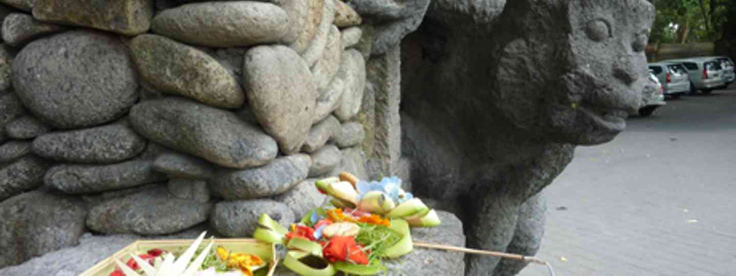 Statue and offering, Bali (Marie Javins)