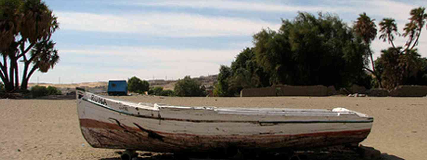 Nubia, where bizarre meets surreal: a boat is dumped in the desert (Dale Gillard)