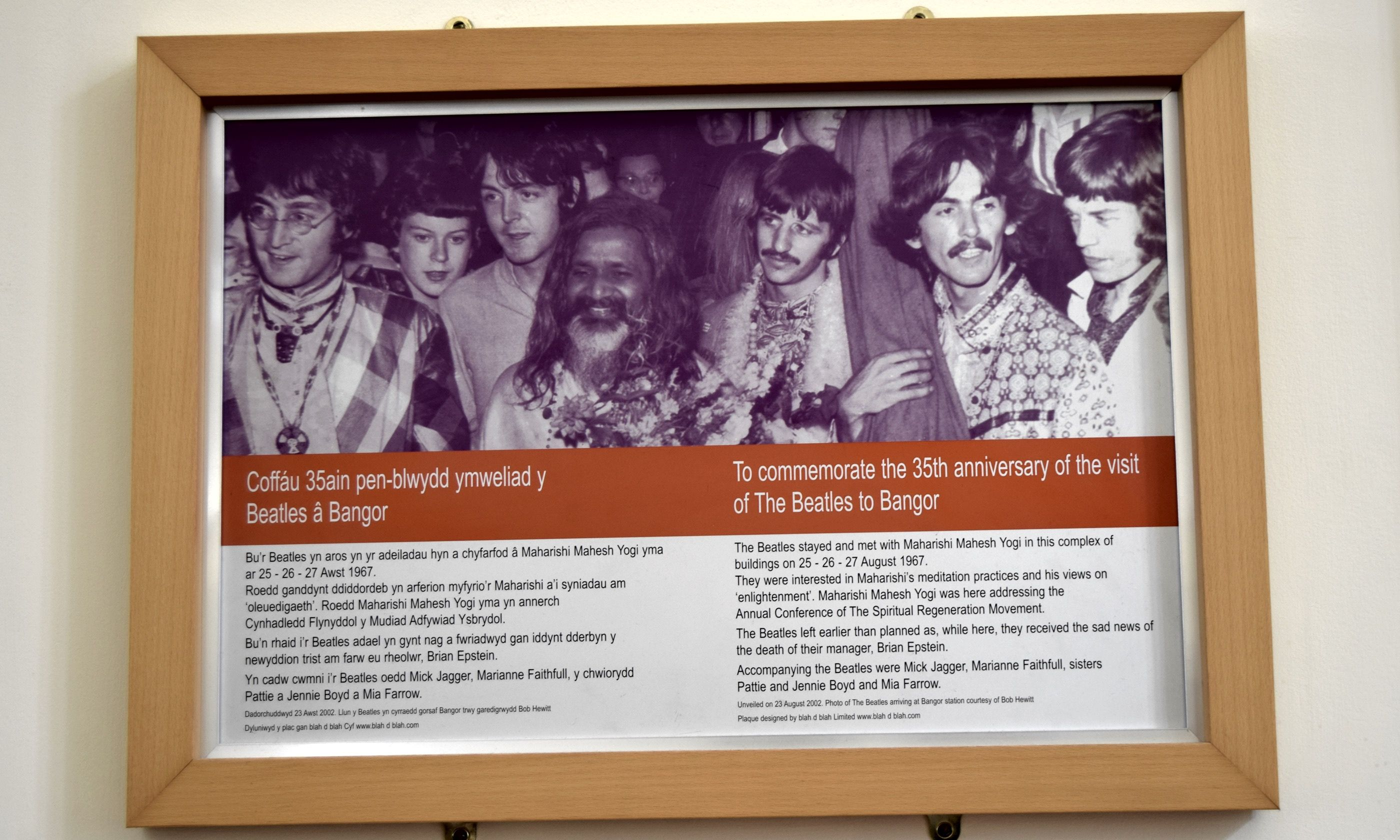 Plaque celebrating Beatles visit to Bangor (Bangor University)