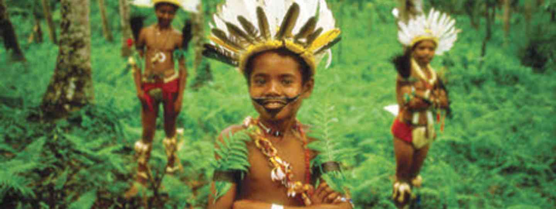 Young Trobriand Island boys from Kiriwina Island in traditional bilas (Kirklandphotos.com)