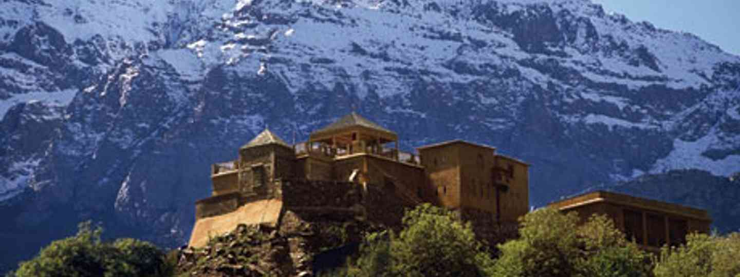 The Kasbah du Toubkal teeters on a rocky outcrop in Morocco