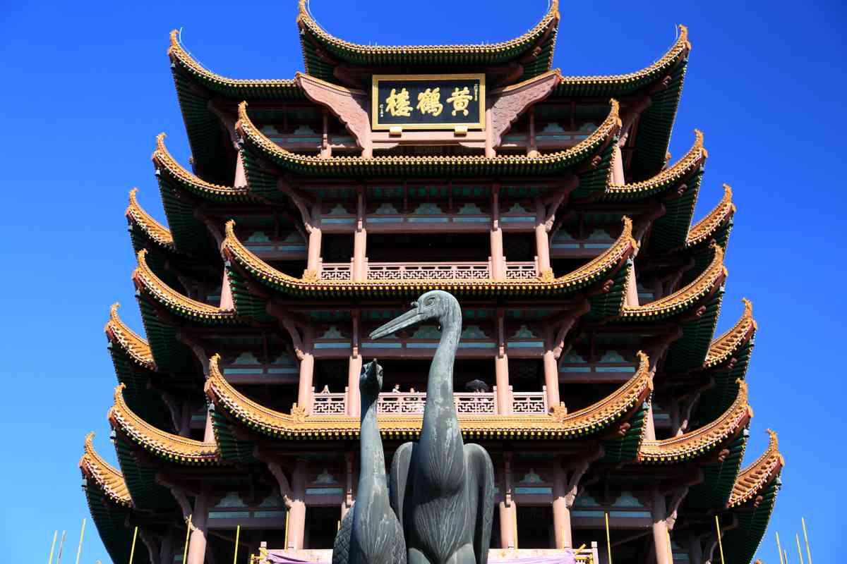 A crane. A pagoda. (Dreamstime)