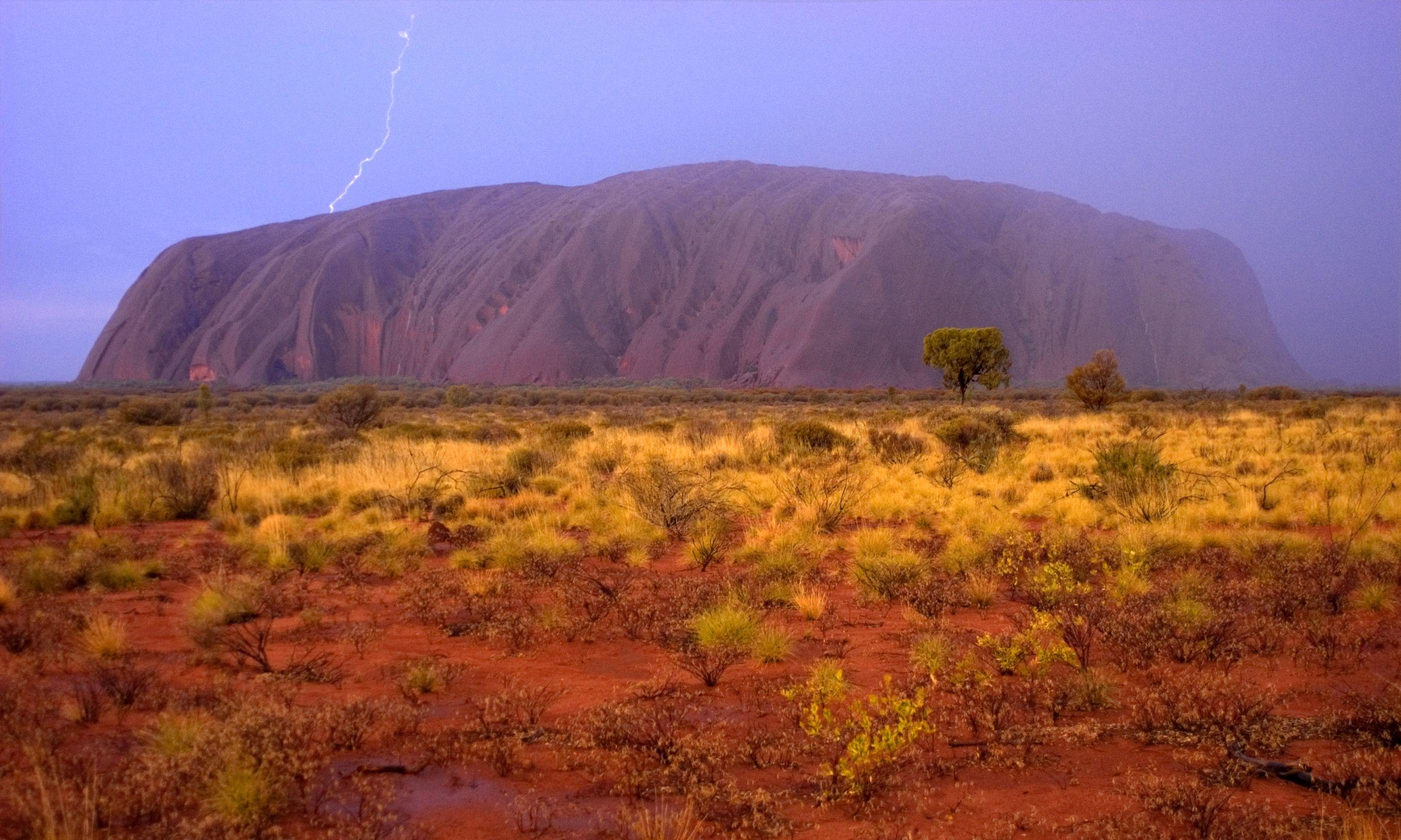 Lightening strike over Uluru (Dreamstime)