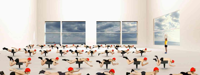 La leçon de natation (Muriel Bordier, série Les Thermes. Courtesy Galerie Annie Gabrielli)