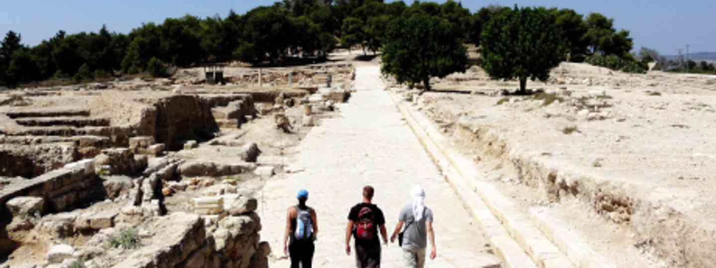 Striding out on the Jesus Trail at ancient Zippori, Nazareth (Matthew Teller)