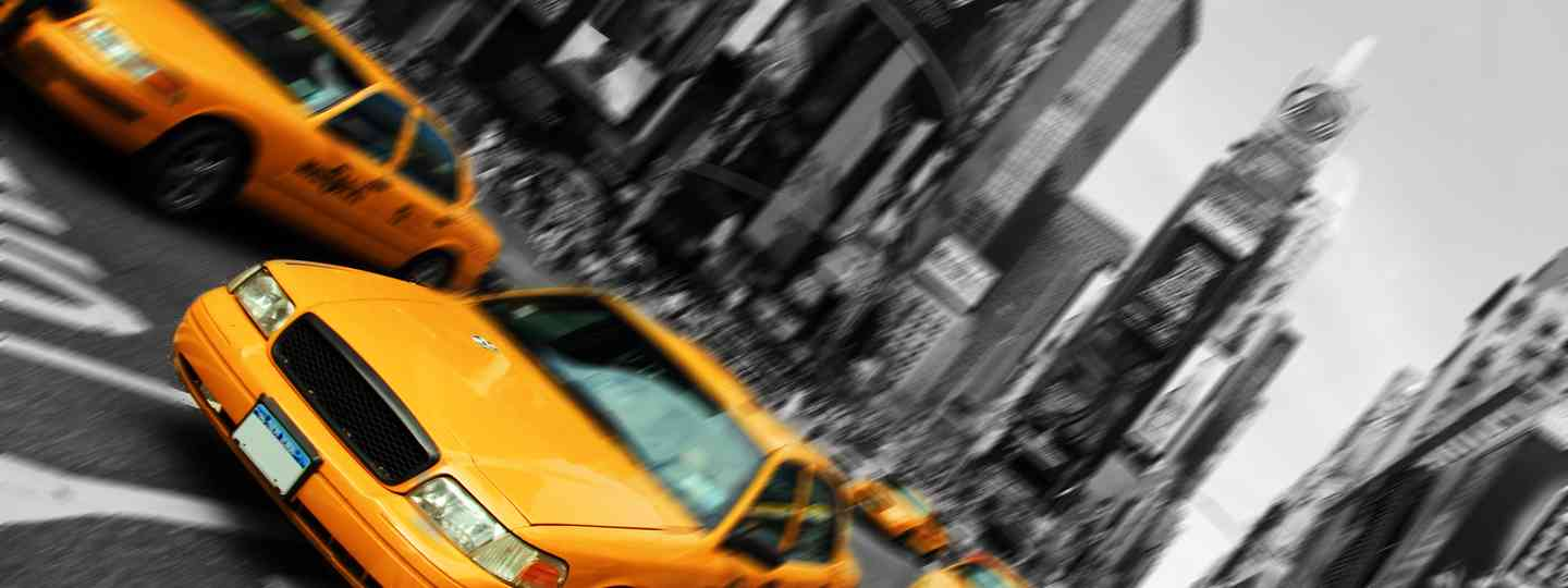 New York cabs in Times Square (Shutterstock.com. See credit below.)