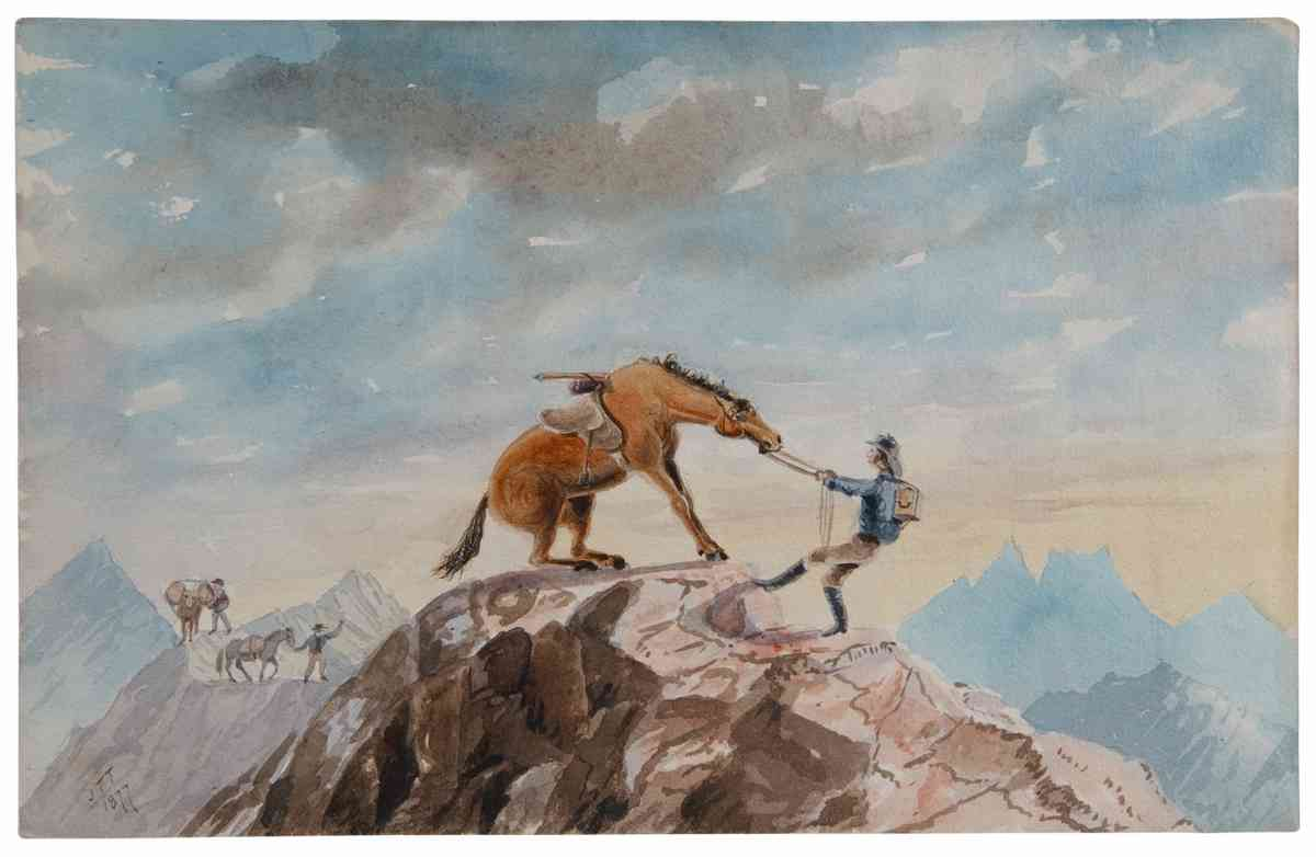 Horse Crossing mountain (Hocken Collections, Uare Taoka o Hōkena, University of Otago)