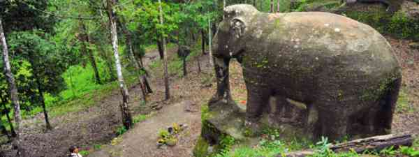 A life-size elephant that stands at Srah Damrei, Phnom Kulen (Image: Terence Carter)
