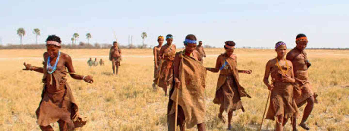 Xushe Xwil leads a group of Ju'/hoansi tribe women across the grasslands around the Makgadikgadi Pans (Graeme Green)