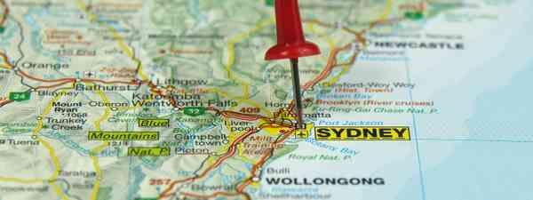Sydney on a map (Shutterstock: see main credit below)