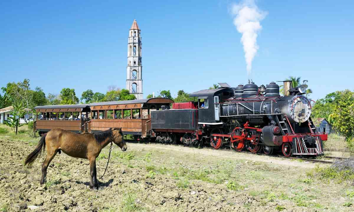 Train passing through Valle de Los Ingenios (Dreamstime.com)