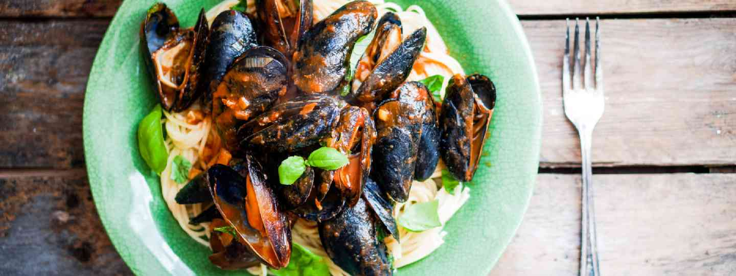Pasta with mussels and basil (Shutterstock: see credit below)