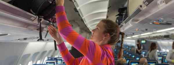 Passenger loading hand luggage (Dreamstime)