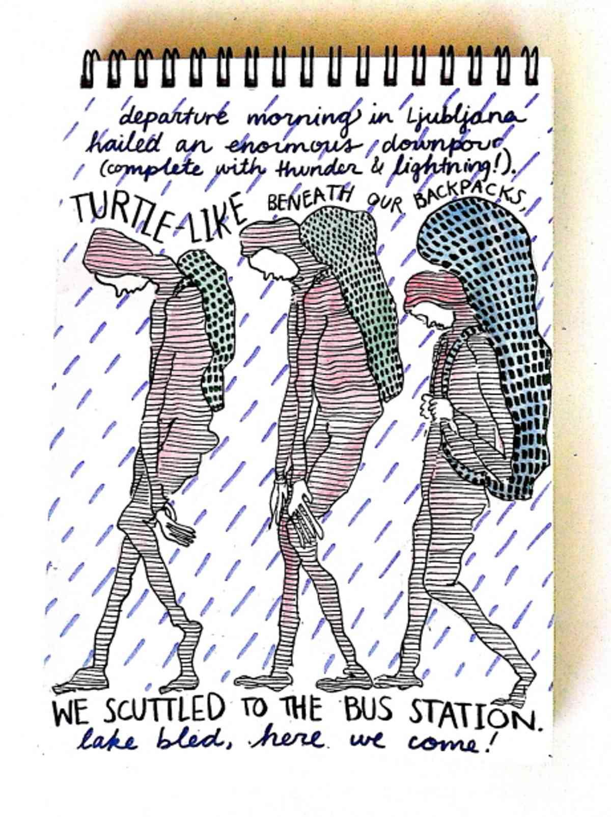 Backpackers in the rain (Emma Fick)