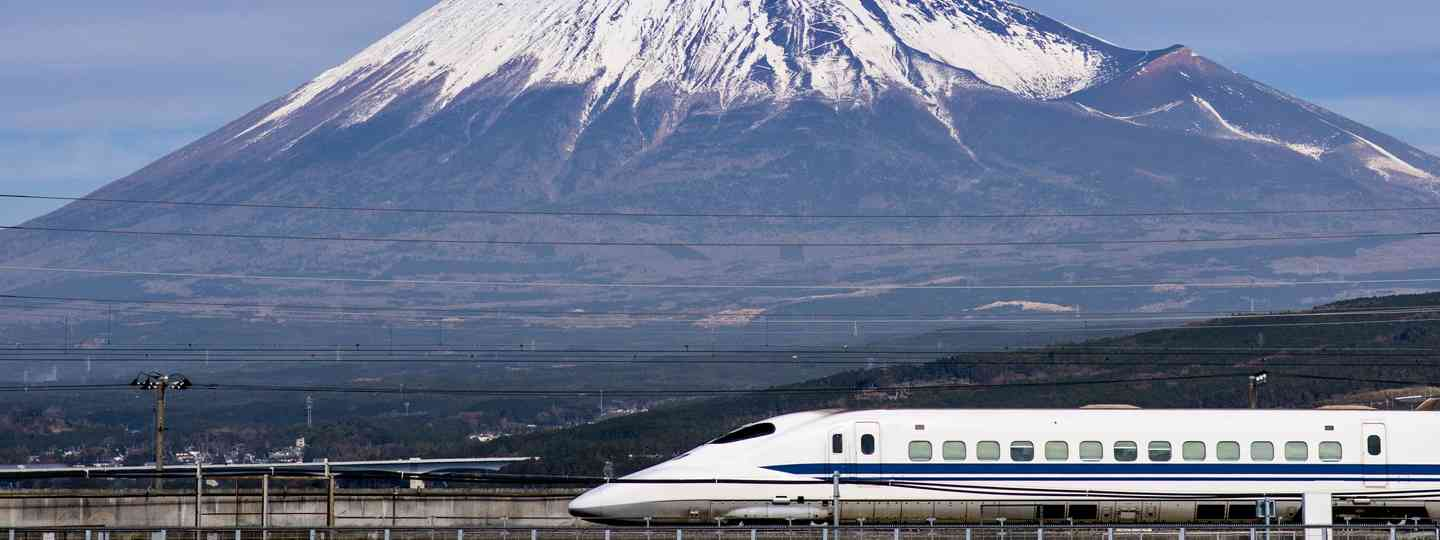 Shinkansen zooms past Mt Fuji (Shutterstock.com. See main credit below))
